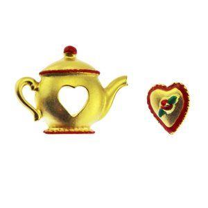 Gold Tea Pot and Heart Scatter Brooch